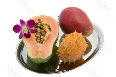 Papaya, Mango, Kiwano, Orchid