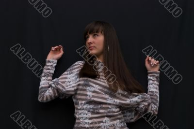 girl on black background