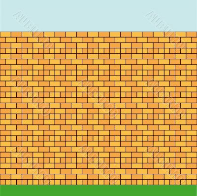 High wall constructed of a brick of two colours