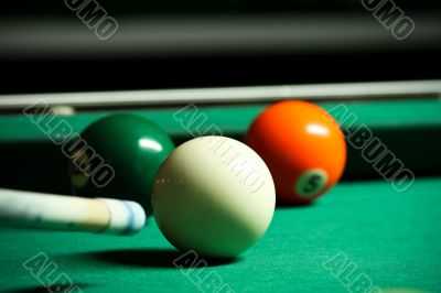 Billiard Cue With Three Balls