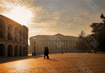 Square with Verona`s Roman Arena