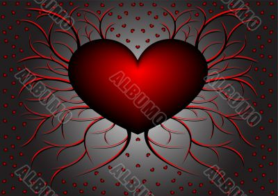 Red pattern with hearts 5