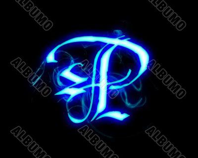 Blue flame magic font over black background. Letter P