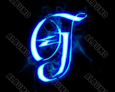 Blue flame magic font over black background. Letter G