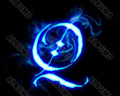 Blue flame magic font over black background. Letter Q