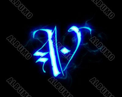 Blue flame magic font over black background. Letter V