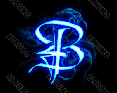 Blue flame magic font over black background. Letter B