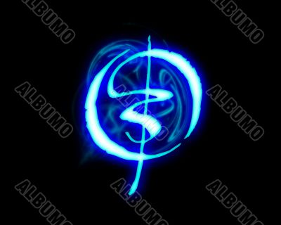 Blue flame magic font over black background. Letter O