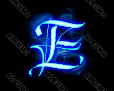 Blue flame magic font over black background. Letter E