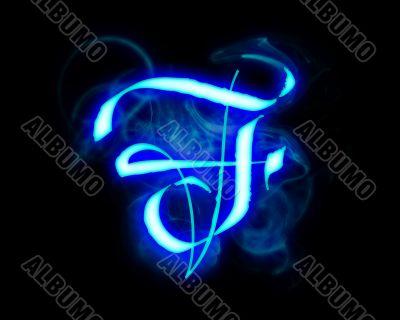 Blue flame magic font over black background. Letter F
