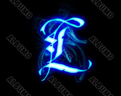 Blue flame magic font over black background. Letter L