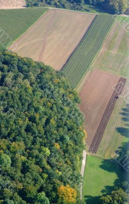 Aerial view of a german forest and  meadows