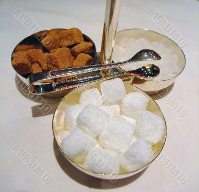 cane sugar, white sugar and candy sugar cubes