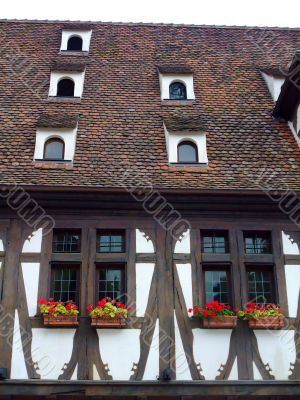 Half timbered wall and roof in Alsace region