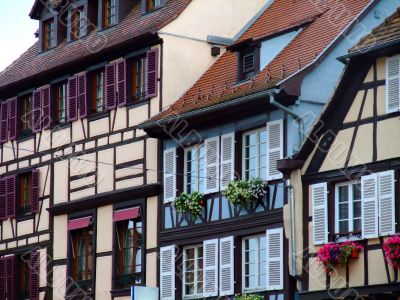 Half-timbered of houses facades in Alsace - Obernai