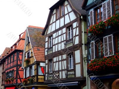 Half timbered of houses facades in Alsace - Obernai