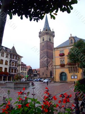 central place of Obernai town - Alsace