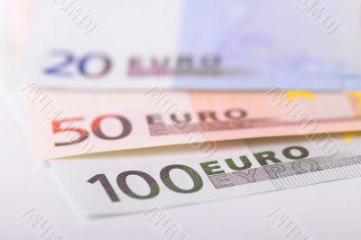 Euro banknotes focus on 100