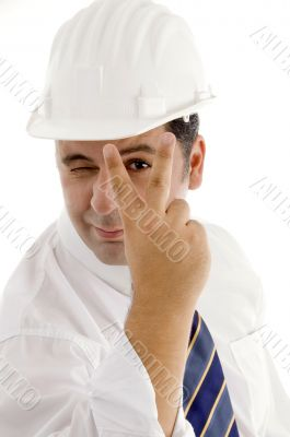 architect posing with peace sign