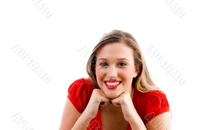 female model posing with her chin on fists