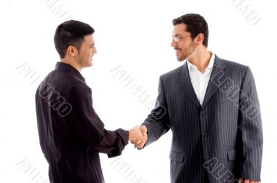 businesspeople communicating and shaking hand