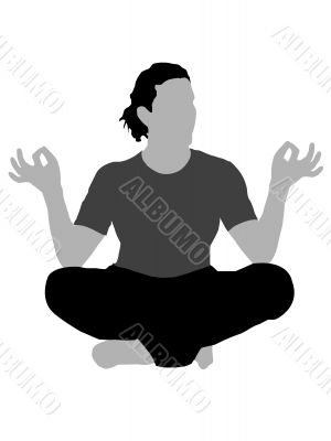 person in meditating pose