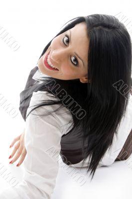 american woman lying on floor