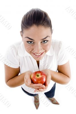 beautiful young female holding an apple