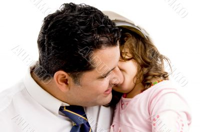 father cuddling his daughter