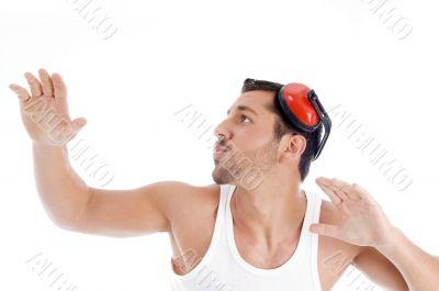 shirtless male dancing on music