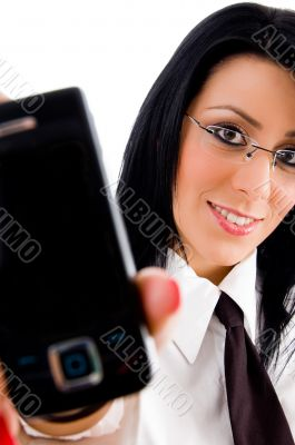 lawyer showing cell phone