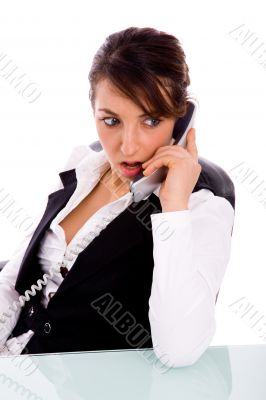 female corporate woman talking on phone