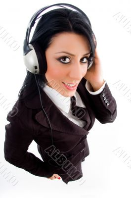 young accountant holding headphone