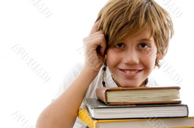 thinking student with books