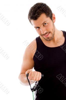 half length of exercising man