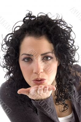attractive female giving flying kiss