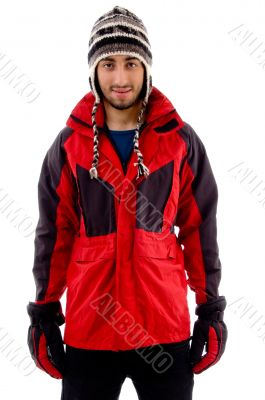 young man in woolen cap and winter jacket
