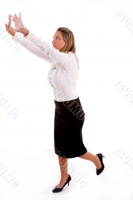 businesswoman showing directing gesture