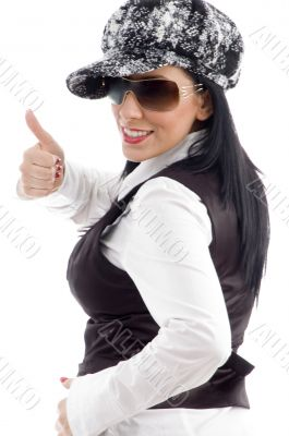 portrait of caucasian female with thumbs up