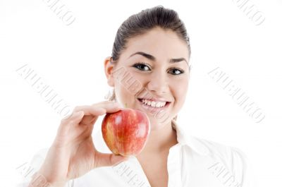 young attractive model holding an apple