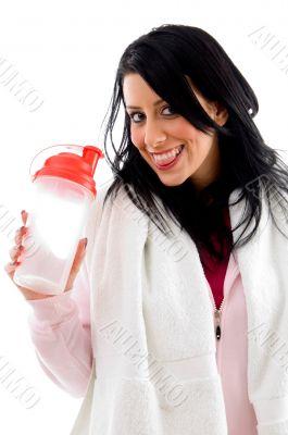 happy female with bottle on white background