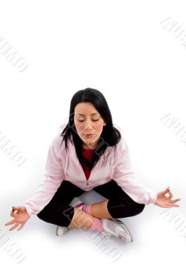 model doing meditation on white background