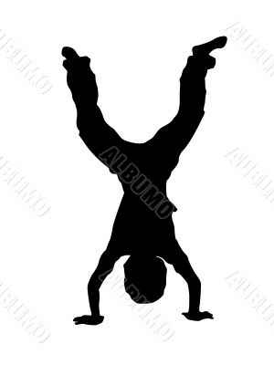 trendy dancer in hand stand position