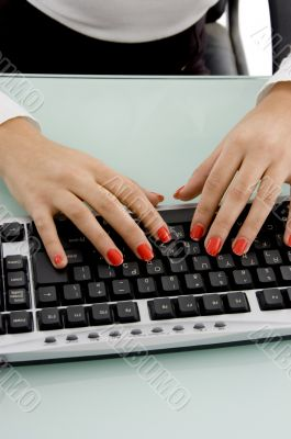 front view of female hands working on keyboard