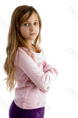 girl with folded arms looking at camera