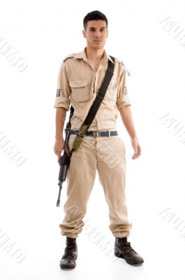 standing soldier with gun