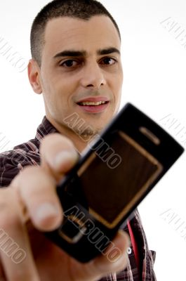 man showing cell phone