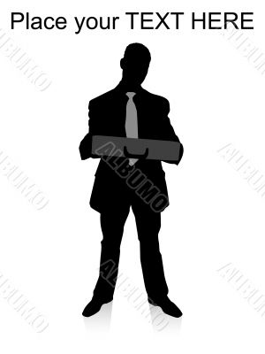 standing businessman holding briefcase