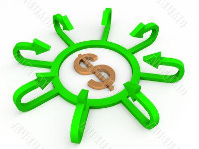 dollar with profit arrows