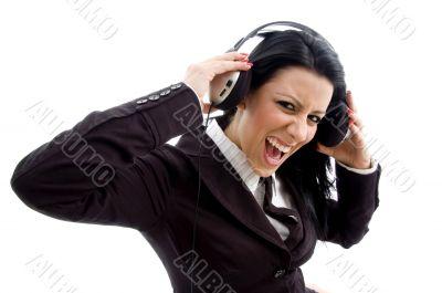 young accountant wearing headphone